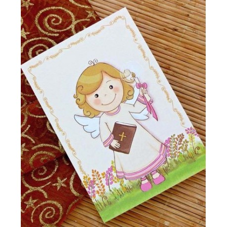 Porta fotos de comunión niña sonrrisa con libro y cirio