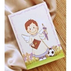 Porta fotos de comunión niño sonrrisa con libro, cirio y balón