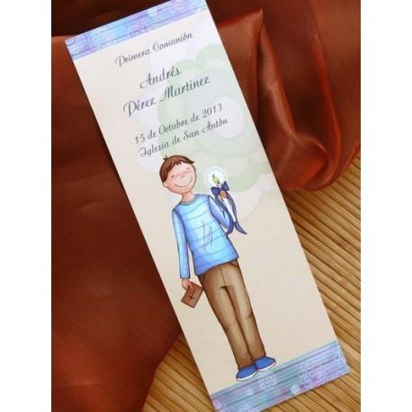 Punto de libro de comunión niño sonrrisa