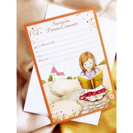 Invitacion de comunión niña biblia