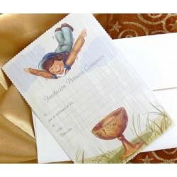 Invitacion de comunión niño volando caliz