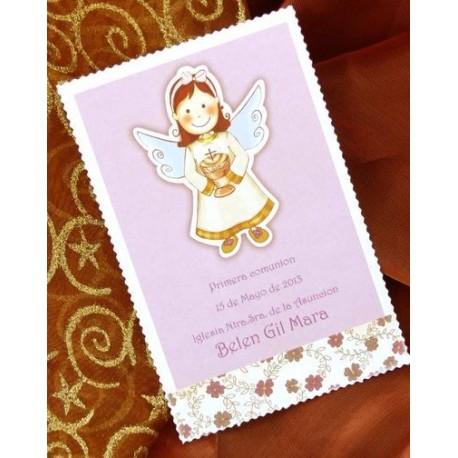 Recordatorio de comunión niña angelito caliz