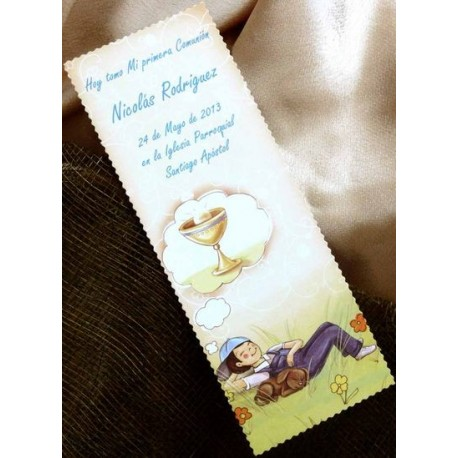 Punto de libro de comunión niño sueño con caliz