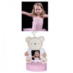 Portafoto clip oso rosa