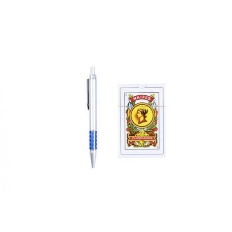 Set baraja cartas española con bolígrafo en estuche