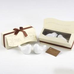 Set salero y pimientero pájaros en caja regalo