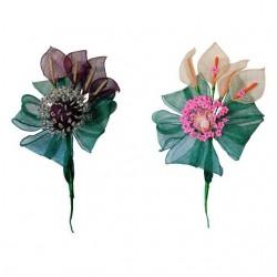 Flor sinamay para alfileres R912