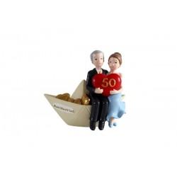 Figura de tarta 50 aniversario barco