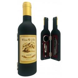 Set 3 piezas forma botella vino en caja regalo transparente