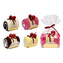 Tronco de pastel toalla en bolsita de regalo