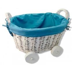 Cesta de mimbre en forma de carrito azul