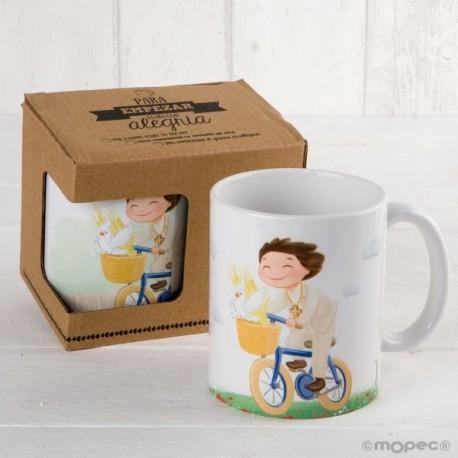 Taza cerámica niño Comunión en bici