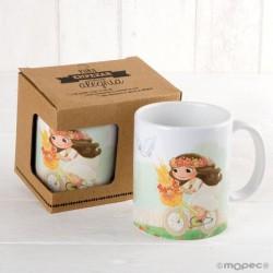 Taza cerámica niña Comunión en bici con caja regalo