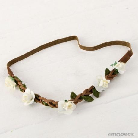 Diadema/corona flores marfil