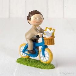 Figura pastel niñoComunión en bici