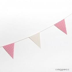 Guirnalda bandera tela marfil y rosa topos
