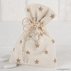 Bolsa algodón estrellas beige chupete peladillas chocolate