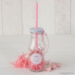 Botellita cristal caña rosa y viruta rosa caramelos