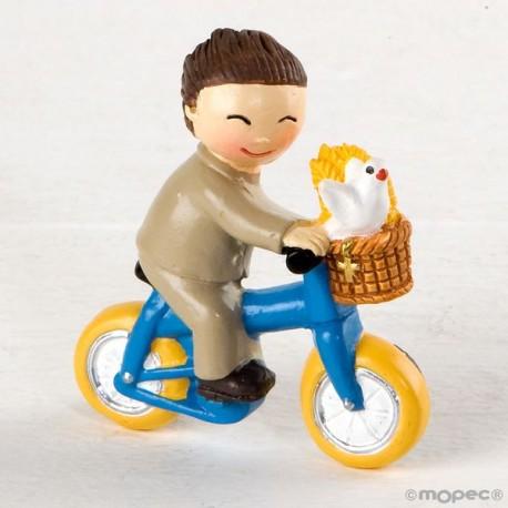 Imán niño Comunión en bici