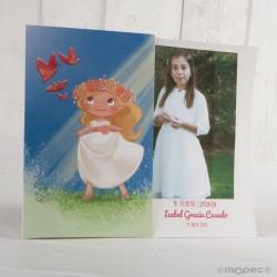 Portafoto de comunión niña pradera rubia
