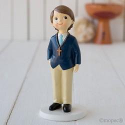 Figura pastel niño Comunión americana azul