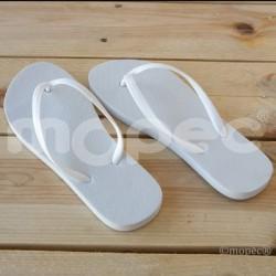 Chancleta flip flop blanca, talla L