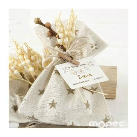 Bolsa algodón estrellas beige con espigas peladillas chocolate