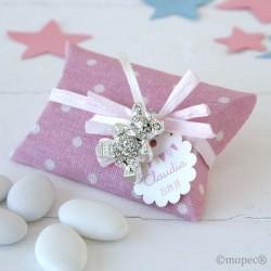 Broche osito strass estuche tela rosa topos   peladillas chocolate