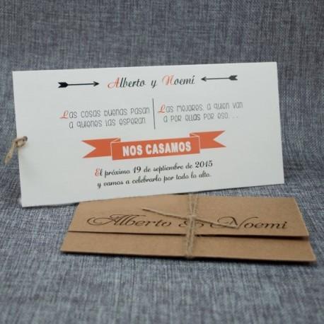 Invitación de boda nombres perforados