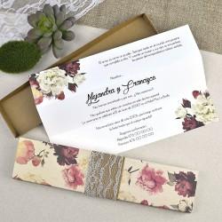 Invitación de boda flores