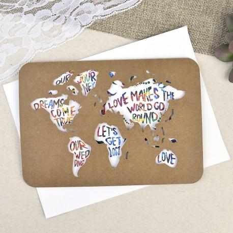 Invitación de boda pasaporte mapa mundo