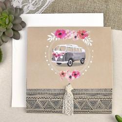 Invitación de boda furgoneta flores