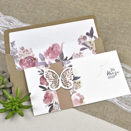 Invitación de boda mariposa flores