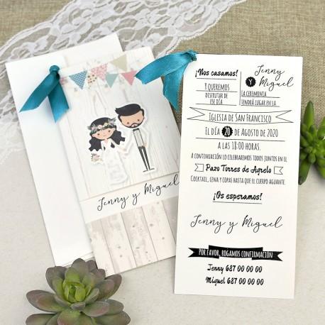invitacion de boda novios madera