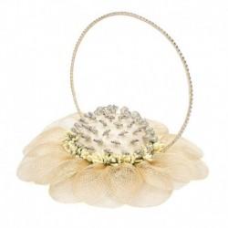 Cesto flor sinamay beig para alfileres
