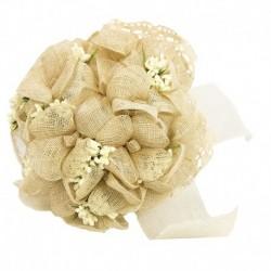 Ramo flores sinamay con encaje
