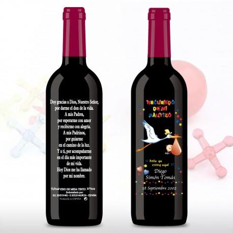 Vino decorada Bautizo 375ml cigueña