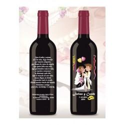 Botella de Vino personalizada Boda Amor