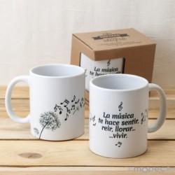 Taza cerámica música en el aire con caja regalo