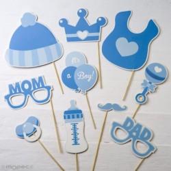 Set de postizos infantil en color azul, 10 piezas