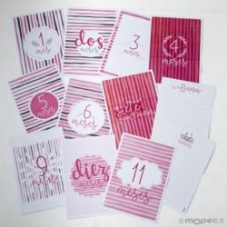Set 12 tarjetones,12 meses rayas rosa