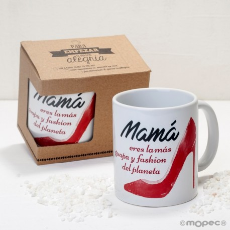 Taza cerámica Mamá tacones en caja regalo