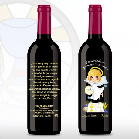 Vino decorada Comunion 375ml angel libro