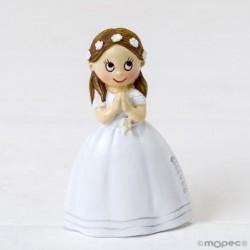 Imán niña Comunión vestido largo y corona flores
