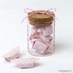 Tarro cristal y 5caramelos rosas