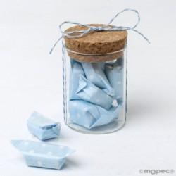 Tarro cristal y 5caramelos azules