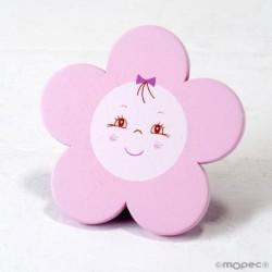 Imán madera flor color rosa, 8cm.,min.3