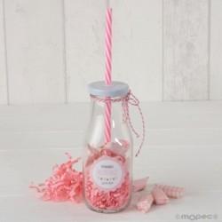 Botellita cristal caña rosa y viruta rosa 12 caramelos