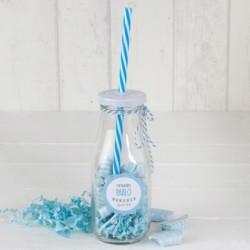 Botellita cristal caña azul y viruta azul 12 caramelos