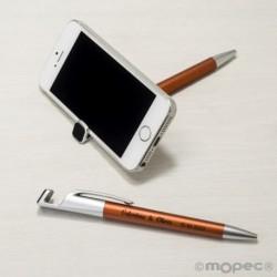Bolígrafo-soporta móvil ocre con borra-huellas pantalla